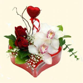 Konya ucuz çiçek gönder  1 kandil orkide 5 adet kirmizi gül mika kalp