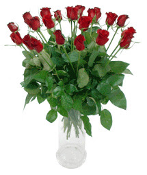 Konya anneler günü çiçek yolla  11 adet kimizi gülün ihtisami cam yada mika vazo modeli