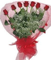 7 adet kipkirmizi gülden görsel buket  Konya çiçek siparişi sitesi