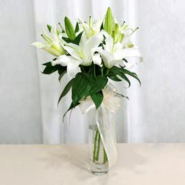 Konya çiçek , çiçekçi , çiçekçilik  2 dal kazablanka ile yapılmış vazo çiçeği