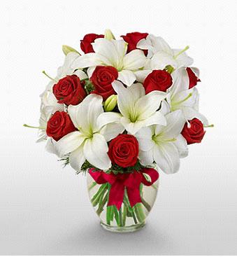 Konya çiçek mağazası , çiçekçi adresleri  1 dal kazablanka 11 adet kırmızı gül vazosu