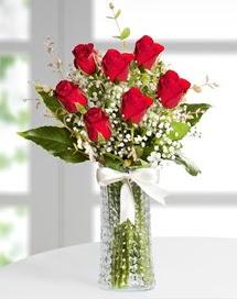 Cam vazoda 7 adet kırmızı gül  Konya çiçek online çiçek siparişi