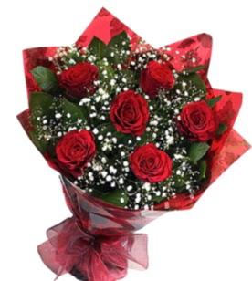 6 adet kırmızı gülden buket  Konya internetten çiçek siparişi