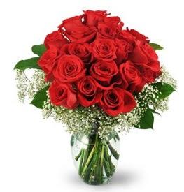 25 adet kırmızı gül cam vazoda  Konya çiçek online çiçek siparişi