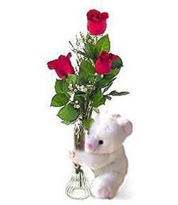 oyuncak ve 3 adet gül  Konya güvenli kaliteli hızlı çiçek
