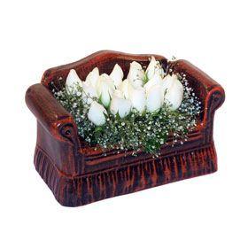 seramik içerisinde 11 gül  Konya çiçek mağazası , çiçekçi adresleri