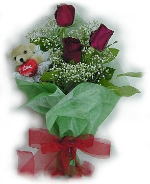 3 adet gül ve küçük ayicik buketi  Konya çiçek yolla