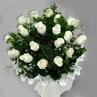 Konya çiçek mağazası , çiçekçi adresleri  11 adet beyaz gül buketi ve bembeyaz amnbalaj
