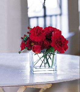 Konya çiçek servisi , çiçekçi adresleri  kirmizinin sihri cam içinde görsel sade çiçekler