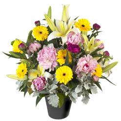 karisik mevsim çiçeklerinden vazo tanzimi  Konya çiçekçi telefonları