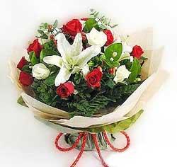 güller ve kazablanklardan görsel bir buket  Konya yurtiçi ve yurtdışı çiçek siparişi