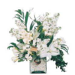 Konya çiçek yolla , çiçek gönder , çiçekçi   sadece beyazlardan olusmus mevsim cam yada mika tanzim