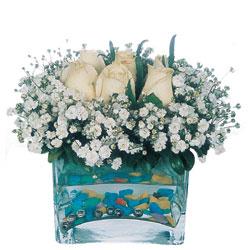 Konya kaliteli taze ve ucuz çiçekler  mika yada cam içerisinde 7 adet beyaz gül