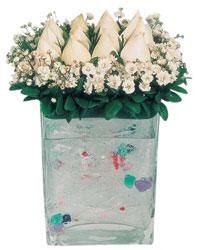 Konya kaliteli taze ve ucuz çiçekler  7 adet beyaz gül cam yada mika vazo tanzim
