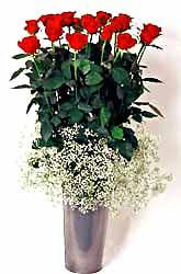 Konya çiçek yolla  9 adet kirmizi gül cam yada mika vazoda