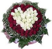 Konya çiçek siparişi sitesi  27 adet kirmizi ve beyaz gül sepet içinde