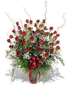 Konya güvenli kaliteli hızlı çiçek  33 adet kirmizi gül vazo içerisinde