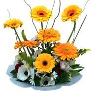 camda gerbera ve mis kokulu kir çiçekleri  Konya anneler günü çiçek yolla