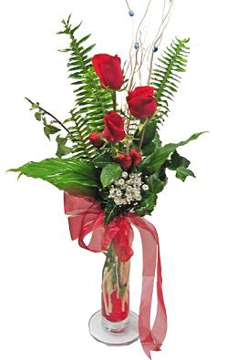 Çiçek gönderin cam vazoda 3 gül çiçekleri  Konya güvenli kaliteli hızlı çiçek