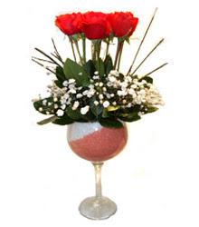 Konya online çiçekçi , çiçek siparişi  cam kadeh içinde 7 adet kirmizi gül çiçek