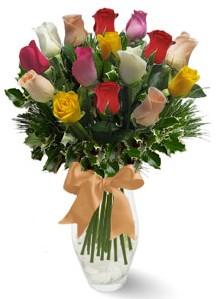 15 adet vazoda renkli gül  Konya yurtiçi ve yurtdışı çiçek siparişi