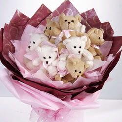 9 adet ayiciktan buket  Konya çiçek yolla , çiçek gönder , çiçekçi