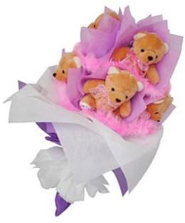 9 adet ayiciktan buket  Konya ucuz çiçek gönder