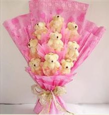 9 adet pelus ayicik buketi  Konya çiçek , çiçekçi , çiçekçilik