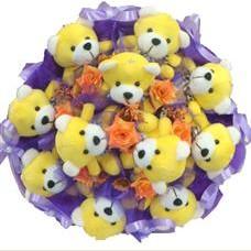 11 adet pelus ayicik buketi  Konya çiçek siparişi sitesi