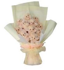 11 adet pelus ayicik buketi  Konya çiçek servisi , çiçekçi adresleri