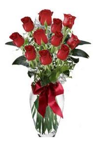 11 adet kirmizi gül vazo mika vazo içinde  Konya çiçek satışı