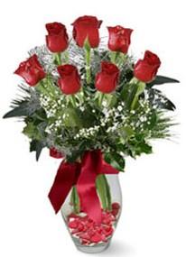 Konya çiçek yolla , çiçek gönder , çiçekçi   7 adet kirmizi gül cam vazo yada mika vazoda