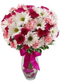 Konya güvenli kaliteli hızlı çiçek  Karisik mevsim kir çiçegi vazosu