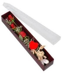 kutu içerisinde 3 adet gül ve oyuncak  Konya çiçek gönderme