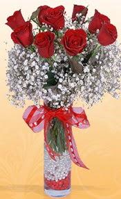 9 adet kirmizi gül cam yada mika vazoda  Konya çiçek siparişi sitesi