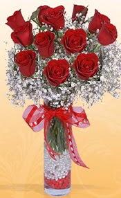 10 adet kirmizi gülden vazo tanzimi  Konya güvenli kaliteli hızlı çiçek