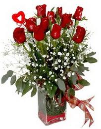 Konya İnternetten çiçek siparişi  9 adet mika yada cam vazoda gül tanzimi kalp çubuk
