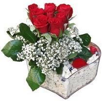 Konya çiçekçiler  kalp mika içerisinde 7 adet kirmizi gül