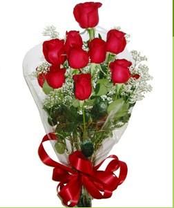 Konya çiçekçi telefonları  10 adet kırmızı gülden görsel buket