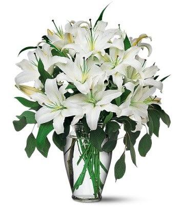 Konya yurtiçi ve yurtdışı çiçek siparişi  4 dal kazablanka ile görsel vazo tanzimi