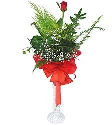 Konya çiçek , çiçekçi , çiçekçilik  Cam vazoda masum tek gül