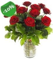 11 adet vazo içerisinde kırmızı gül  Konya çiçek gönderme sitemiz güvenlidir