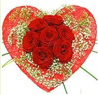 Mika kalp içerisinde 7 adet kırmızı gül  Konya kaliteli taze ve ucuz çiçekler