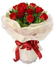 12 adet kırmızı gül buketi  Konya çiçek , çiçekçi , çiçekçilik