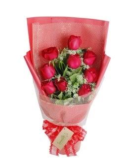 9 adet kırmızı gülden görsel buket  Konya çiçek servisi , çiçekçi adresleri