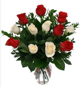 Vazo içerisinde 6 kırmızı 6 beyaz gül  Konya çiçek mağazası , çiçekçi adresleri