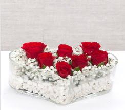kalp içerisinde 7 adet kırmızı gül  Konya İnternetten çiçek siparişi