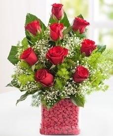 Cam içerisinde 9 adet kırmızı gül  Konya yurtiçi ve yurtdışı çiçek siparişi
