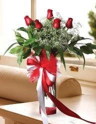Camda 5 kırmızı gül tanzimi  Konya anneler günü çiçek yolla