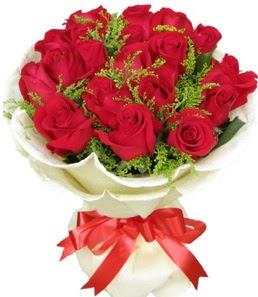 19 adet kırmızı gülden buket tanzimi  Konya çiçekçi mağazası
